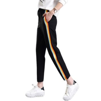 2018 Spring Summer Women Casual Sweatpants Rainbow Striped Printed Side Pant Ladies Loose Trousers Joggers Sweat Pants Plus Size