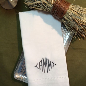 Set of 4 Modern Monogrammed Embroidered Cloth Dinner Napkins (Ivory/White/Black) hostess gift / wedding / personalized gift / table linens