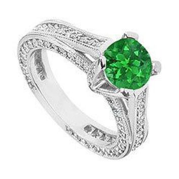 Emerald and Diamond Engagement Ring : 14K White Gold - 2.50 CT TGW