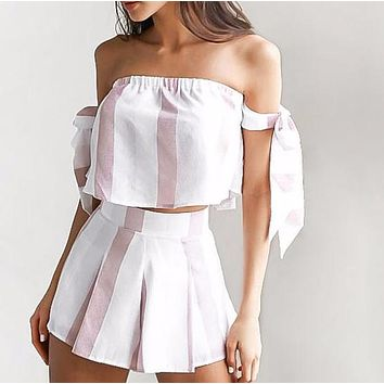 Athena White & Light Pink Two-Piece