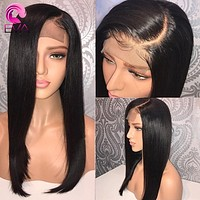 """Eva Hair Lace Front Human Hair Wigs Pre Plucked Hairline With Baby Hair Straight 8""""-26"""" Brazilian Remy Hair Wigs Natural Color"""