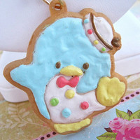 Sweet confetti penguin frosted sugar cookie icing necklace on white beaded chain