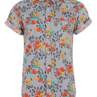GREY FLORAL LEOPARD PRINT HIGH ROLLER SHIRT - Mens Shirts - Clothing - TOPMAN USA