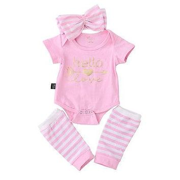 New autumn baby girl clothes set Baby Girl Romper+Stripe Leg Warmers Outfits Set Clothes