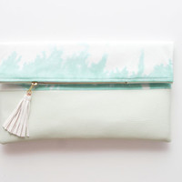 PENELOPE 2/ Cotton & Leather folded clutch - Ready to Ship