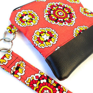 Coral Mandala Wristlet Clutch - Pink Orange Black Faux Leather Zipper Pouch