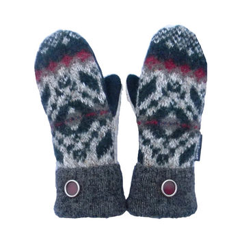 Green and Gray Sweater Mittens - Wool Mittens for Women Beige Burgundy Recycled Gift Handmade in Wisconsin Sweaty Mitts Fleece Lined Winter