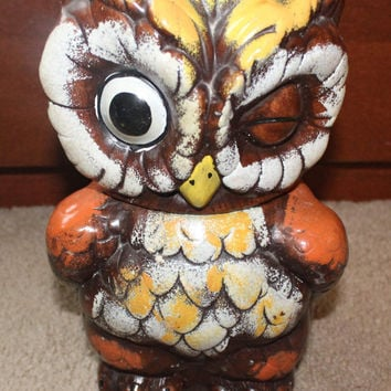 Vintage Winking Owl Cookie Jar