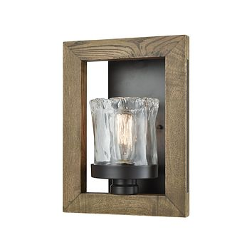 Timberwood 1-Light Wall Lamp in Oil Rubbed Bronze with Clear Hand-formed Glass