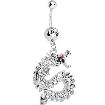Clear Gem Chinese Dragon Charm Dangle Belly Ring