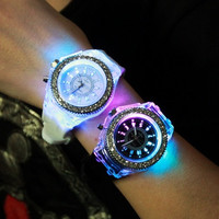 Luminous watch Korean fashion personality lovers jelly form for men and women love = 1945684100