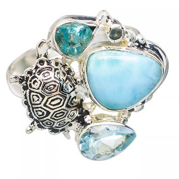 Larimar, Blue Topaz & Appetite Rough Turtle Sterling Silver Ring