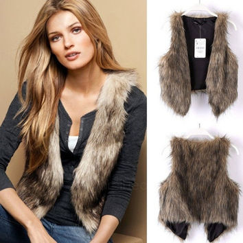Low Price Faux Fur Vest Gilet Waistcoat Hot Brown AP = 1930390020
