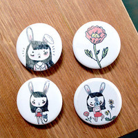 4 badges pack  Bunny with camera ChoiBun Koo by girliepains