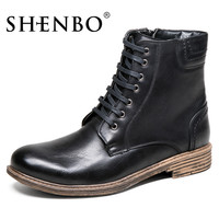 Lace Up Men Boots,  Men Autumn Winter Boots, Brown Men Ankle Boots