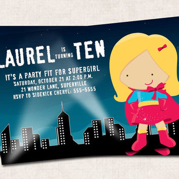 Super girl Birthday Party Invitation, wonderwoman, hero, super hero, (Digital File) you-print