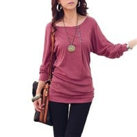 Allegra K Women Boat Neck Batwing Sleeves Pullover Casual Slim Tops
