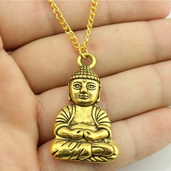 WYSIWYG 3 colors antique gold antique silver antique bronze color 39*23mm one sided buddha necklace 70cm chain long necklace