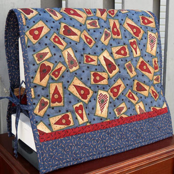 Reversible Sewing Machine Cover, Quilted, Blue, burgundy and tan