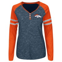 Women's Denver Broncos Majestic Navy Lead Play Raglan Long Sleeve T-Shirt