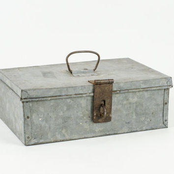 Vintage Galvanized Metal Industrial Storage Box