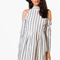 Petite Lily Stripe Open Shoulder Skater Dress | Boohoo