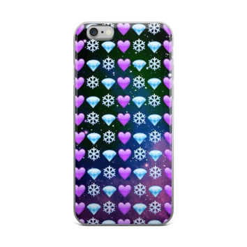 Snowflake Purple Heart & Blue Diamond Emoji Collage In Space Teen Cute XMAS Christmas Girly Girls iPhone 4 4s 5 5s 5C 6 6s 6 Plus 6s Plus 7 & 7 Plus Case
