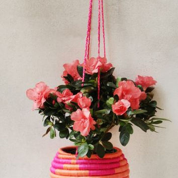 Indego Africa Hanging Flower Pot - Orange & Pink