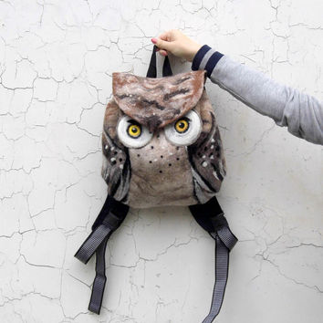 Free shipping, Felted Backpack OWL,Felt Tote OWL,OOAK,Felted Barred Owl