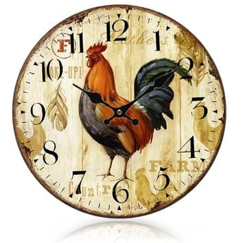 Gosear Primitive European-styled Country Rooster Wood Wall Mounted Clock Vintage relojes pared relogio de parede Home Decoration