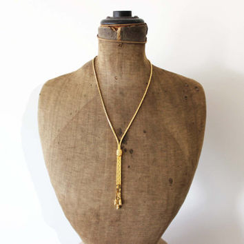 Vintage Gold Tassel Necklace with Earrings - Long Gold Fringe Necklace - Chunky Gold Chain Necklace - Gold Nugget Necklace and Earrings
