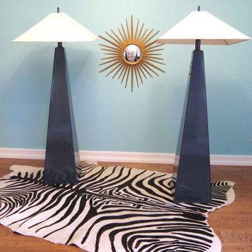 Vintage HOLLYWOOD REGENCY Pair Monumental OBELISK Floor Lamps
