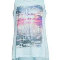 Full Tilt Photoreal Girls Sharkbite Tee Light Blue  In Sizes