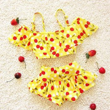 Children's swimsuit girls cherry bebek bikini baby girl swimwear little girls swim swimsuits for children girls swimming clothes