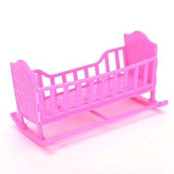 1PC Pink Mini Dolls House Toy Darling Doll Furniture for American Girl Rocking Cradle Bed for Barbie Doll Accessories Girls Gift