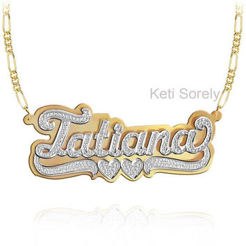 Handmade 3D Nameplate Necklace with Diamond Beading (Order Any Name) - Yellow Gold, White Gold or Rose Gold