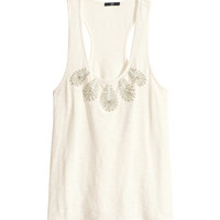 H&M - Beaded Tank Top - Natural white - Ladies