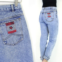 "Vintage 80s High Waisted Acid Wash Bugle Boy Jeans - Women's Tapered Leg Slim Fit Jeans - Size 12 / 13 - 30"" Waist"