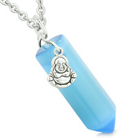 Happy Laughing Buddha Magic Amulet Crystal Point Pendant Sky Blue Simulated Cats Eye 22 inch Necklace
