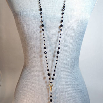 Black Crystal Rosary Style Extra Long Skull Necklace with Hand Connector