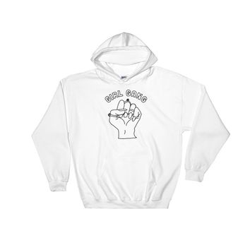 Girl Gang Hooded Sweatshirt White