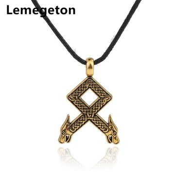 Lemegeton Othila Ancestral Norse Rune Dragon Head Knot Charms Wax Cord Chain Men's Double-side Necklace Gothic Vintage Pendants
