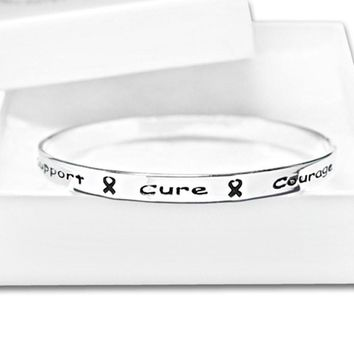 Silver Ribbon Bangle Bracelet with words Support, Cure, Hope, Courage for all causes