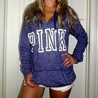 """Pink"" Victoria's Secret Letter Print Zipper V-Neck Hoodie  Top Sweater Sweatshirt"