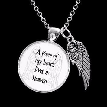 A Piece Of My Heart Lives In Heaven Guardian Angel Wing In Memory Necklace