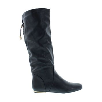 Mid Calf Back Lace Boot (BLACK)