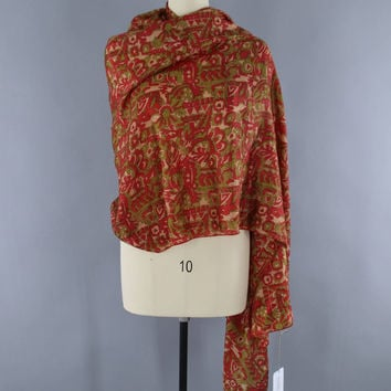 Sari Scarf Shawl Wrap Stole / Brown Orange Abstract Print