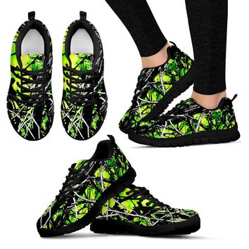 Neon Green Womens Camo Tennis Shoes with Black or White