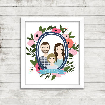 Custom Portrait Illustration in Floral Wreath | Couple Illustration | Family Portrait | Gift Idea | Newlyweds | Wedding Gift