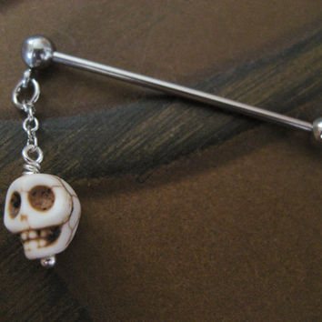 Industrial Barbell Piercing Jewelry White Turquoise Skull Charm Dangle Bar 14g 14 G Gauge Ear Bar Earring